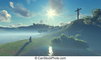 Woman praying at Jesus cross against beautiful morning sun
