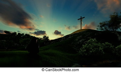 Woman praying over Jesus cross against beautiful timelapse sunrise