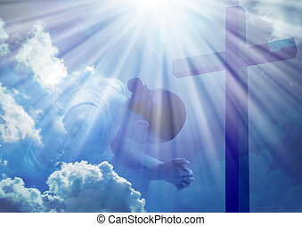 Woman praying at the cross