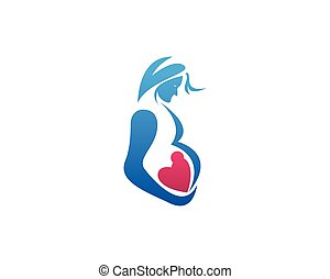 Woman Pregnancy With Love Baby Logo Design