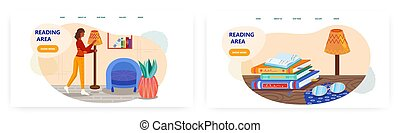 Woman prepare comfortable place to read a book. Reading area at home concept illustration. Vector web site design template. Stack of books and glasses on a desk