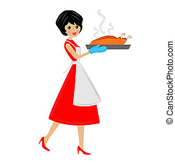 woman prepare fried chicken, vector illustration