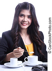 drink coffee  - Woman prepared drink coffee