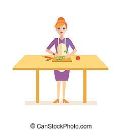 Woman Prepares Cucumber for a Salad