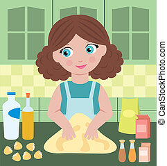 Woman prepares dough - Vector illustration, color full