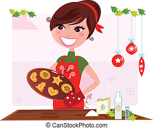 Funny cooking illustration of woman in red apron preparing christmas cookies. Stylized vector illustration in retro style.