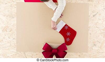Woman preparing for Christmas