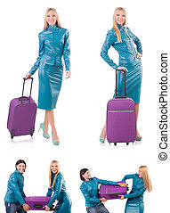 Woman preparing for vacation with suitcase on white