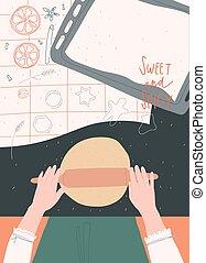 Woman preparing gingerbread cookies. Human hands. Home receipts. Postcard, print, cover