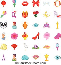 Woman present icons set, cartoon style