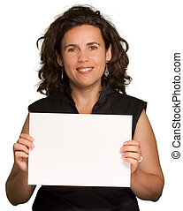 Woman presenting a blank sign