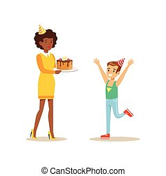 Woman Presenting A Cake To A Boy, Kids Birthday Party Scene With Cartoon Smiling Character