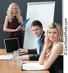 woman presenting at a business teamwork meeting