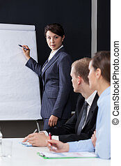 Woman presenting company data during business meeting