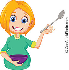 woman presenting how to cooking - vector illustration of...