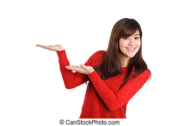 Woman presenting product on white background