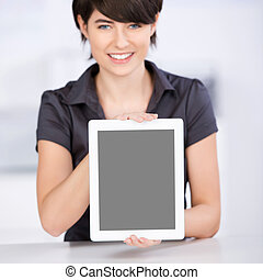Woman presenting the screen of her tablet-pc