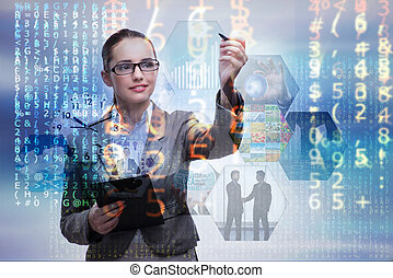 Woman pressing buttons in business concept