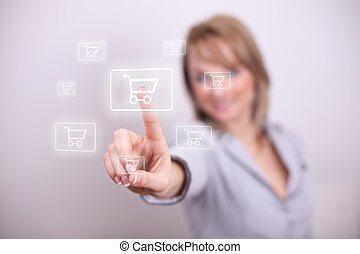 Woman pressing email shopping cart button