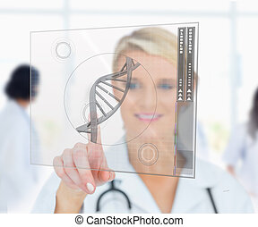 Woman pressing on DNA helix interface hologram