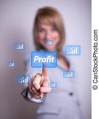 woman pressing Profit button
