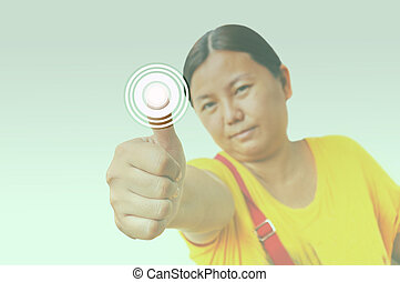 Woman pressing the button