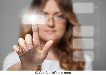 woman pressing touchscreen button - smiling woman pressing...