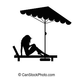 woman pretty on deckchair black illustration