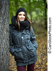 Woman - pretty woman in the autumn forest