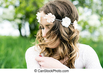Woman - pretty woman with flower hair band in nature