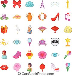 Woman product icons set, cartoon style