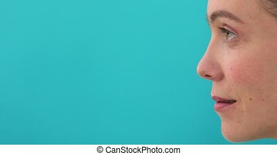 Woman profile blue background - Beautiful woman over...