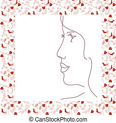 Woman profile in the frame with love symbols. Swatch for seamless is included