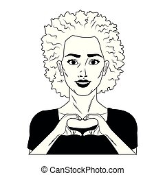 Woman profile pop art cartoon in black and white