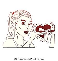 Woman profile pop art cartoon red lines