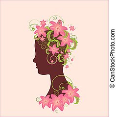 Woman profile with flower