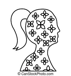 woman profile with flowers pattern