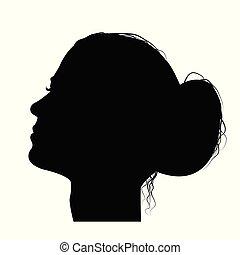 Woman profile with hair in a bun