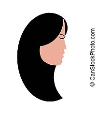 woman profile with long black hair