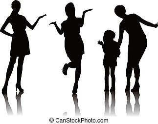 woman promote silhouette - woman model promoter mother girl