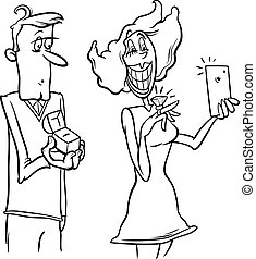 woman proposal selfie coloring page - Black and White...