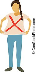 Woman protest icon, cartoon style