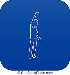Woman protest on the street icon blue vector