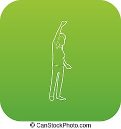 Woman protest on the street icon green vector