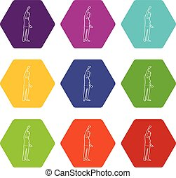 Woman protest on the street icons set 9 vector