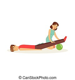 Woman providing first aid procedure to a lying injured man vector Illustration
