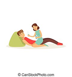 Woman providing first aid to a lying unconscious man vector Illustration