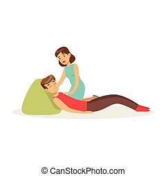 Woman providing first aid to a lying injured man vector Illustration