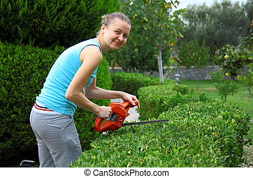 woman pruning shrub with tool in garden - worker pruning ...