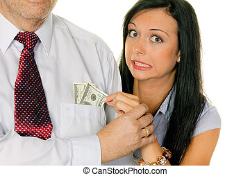 Woman pulls a man out of the money Tasche.Dollar - Young...